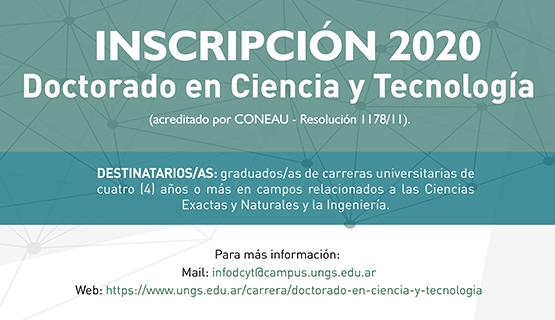 Inscripción para el Doctorado en Ciencia y Tecnología