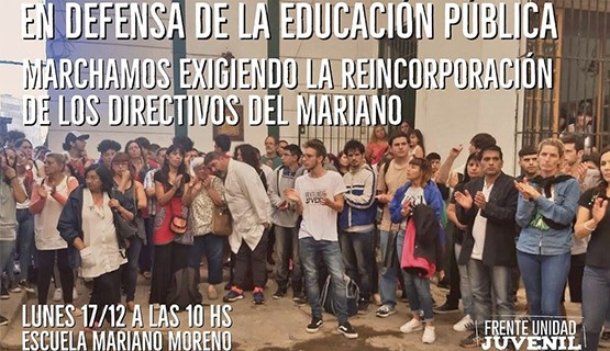 """Movilización tras la sanción a la escuela Nº21 por la """"Marcha Peronista"""""""