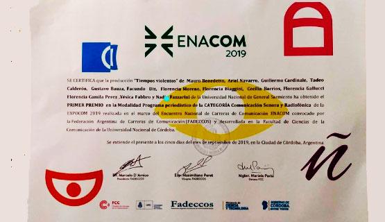 Un trabajo de estudiantes de Comunicación de la UNGS fue premiado en EXPOCOM 2019