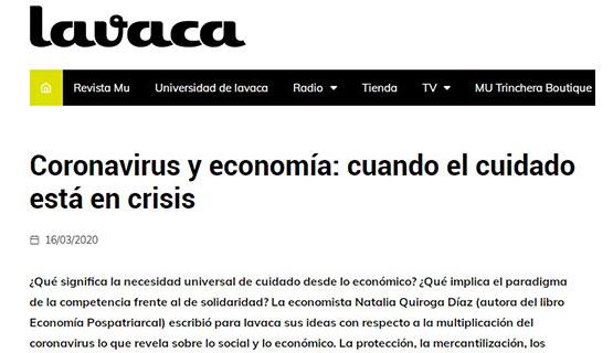 Coronavirus y economía: cuando el cuidado está en crisis | Natalia Quiroga en La Vaca