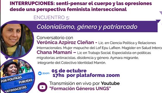 """Quinto encuentro del ciclo de charlas formativas en género: """"Colonialismo, género y patriarcado"""""""