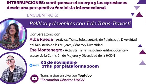 Ciclo de charlas formativas en género: Política y devenires con T de Trans-Travesti
