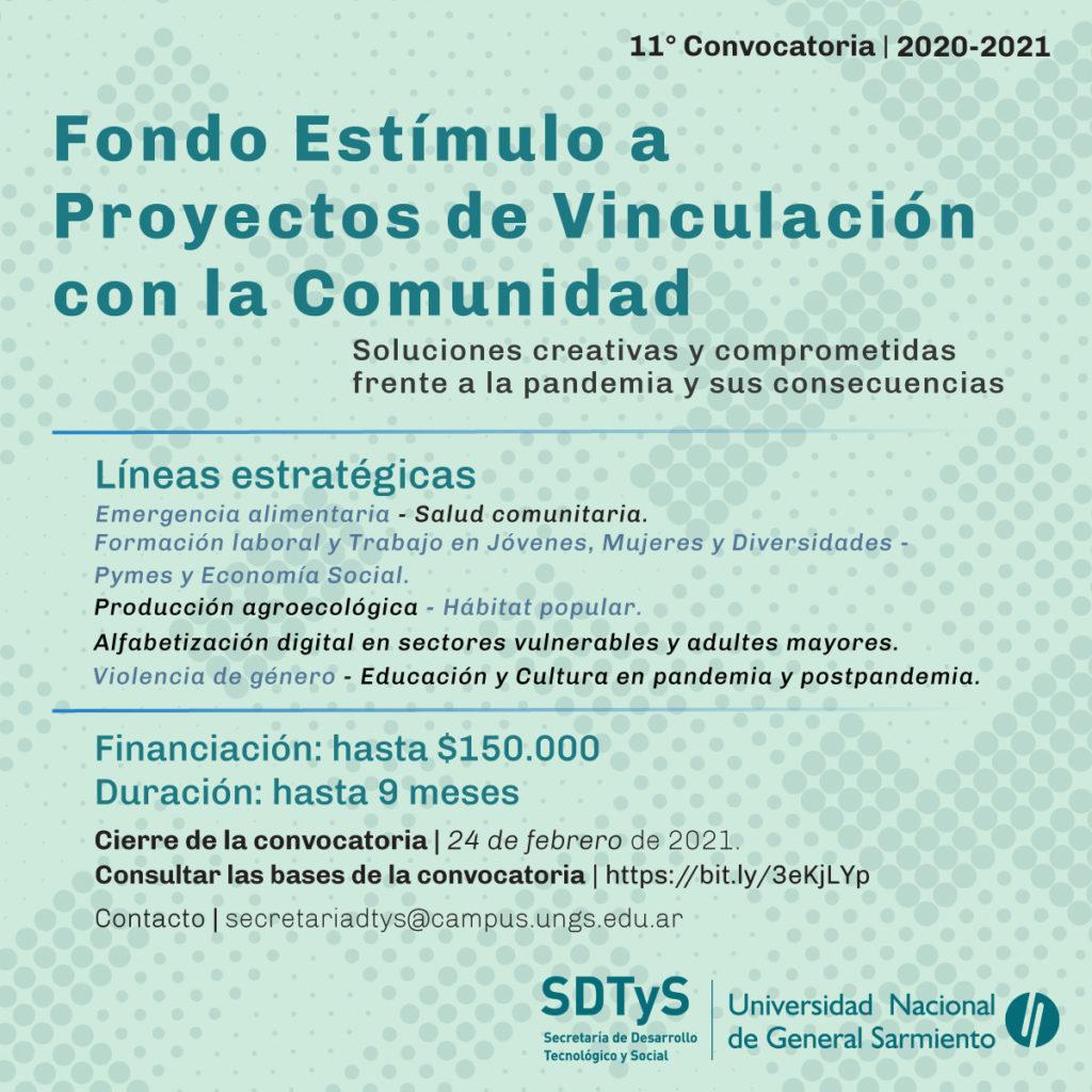 Flyer del Fondo Estímulo con Líneas Estratégicas, Fechas de presentación - Secretaría de Desarrollo Tecnológico y Social