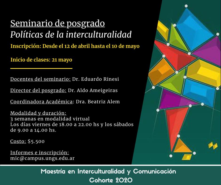 Inscripción abierta: seminario de posgrado