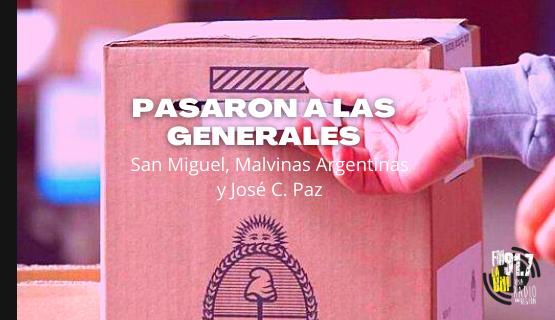 PASO 2021: Ganadores de internas en José C Paz, San Miguel y Malvinas